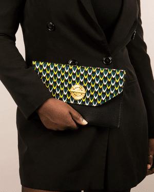 Mode africaine femme 2020 pochette enveloppe plate en wax - Afrhika store boutique à toulouse