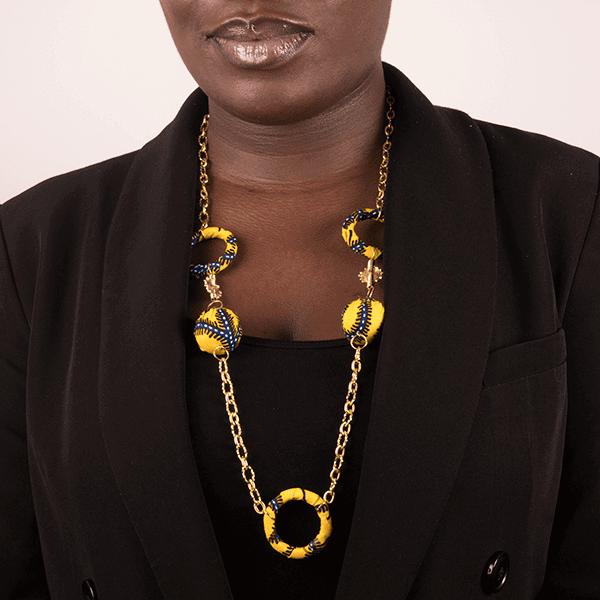 Mode africaine femme 2020 collier sautoir en wax