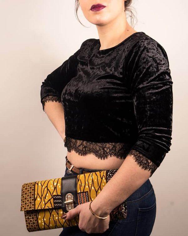 Mode africaine femme 2020 pochette clutch plate en wax - Afrhika store boutique à toulouse