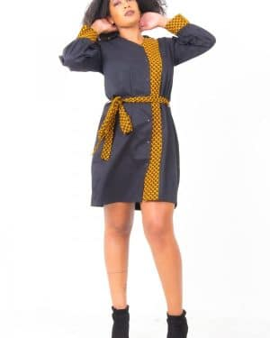 Mode africaine femme 2020 robe ceinture en wax - Afrhika store boutique à toulouse