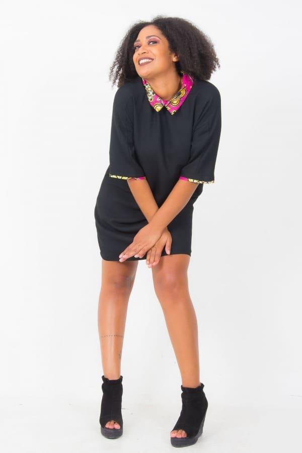 Mode africaine femme 2020 robe col claudine en wax - Afrhika store boutique à toulouse