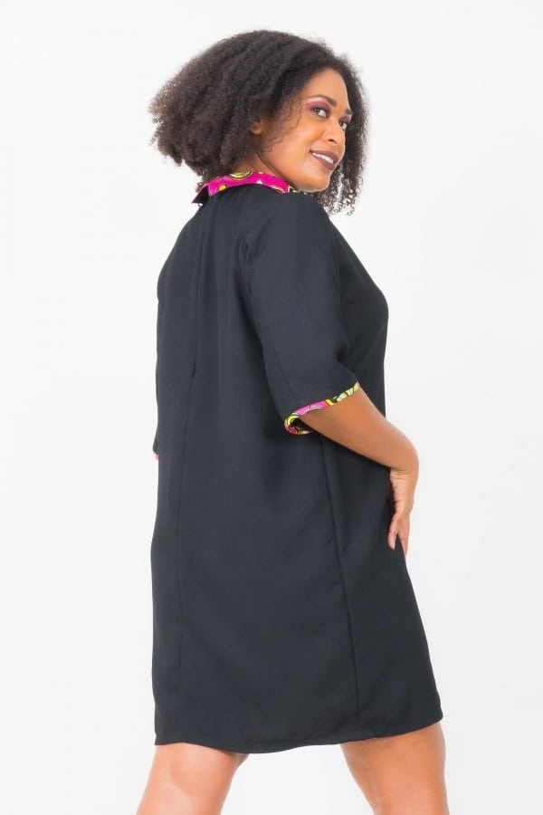 Mode africaine femme 2020 robe col claudine en wax - Afrhika store boutique à toulouse
