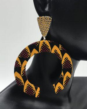 Mode africaine femme 2020 boucles d'oreille en wax - Afrhika store boutique à toulouse