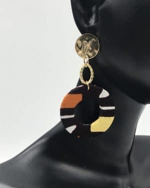 Mode africaine femme 2021 boucles d'oreilles en wax - Afrhika store boutique à toulouse