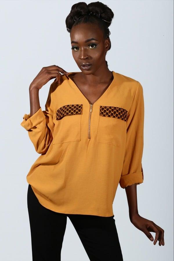 Mode africaine femme 2021 chemisier en wax - Afrhika store boutique à toulouse